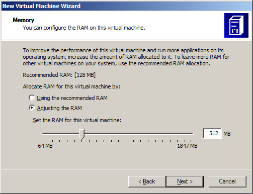 Virtual PC New Virtual Machine Wizard step: Memory adjustment